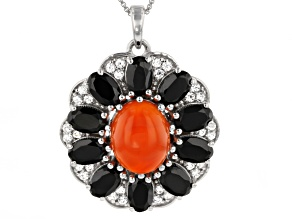 Pre-Owned Orange Carnelian Sterling Silver Pendant With Chain. 6.11ctw