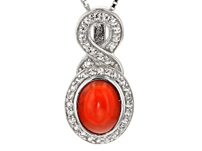Pre-Owned Orange Ethiopian Opal Sterling Silver Pendant With Chain. 1.30ctw