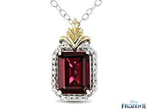 Pre-Owned Enchanted Disney Anna Pendant With Chain Red Garnet And Diamond 10K White And Yellow Gold