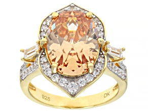 Pre-Owned Brown And White Cubic Zirconia 18K Yellow Gold Over Sterling Silver Ring 10.88ctw