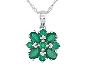 """Pre-Owned Green Oval Onyx Rhodium Over Sterling Silver Pendant With 18"""" Chain 1.73ctw."""