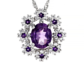 Pre-Owned Purple Amethyst Rhodium Over Silver Pendant With Chain 3.09ctw