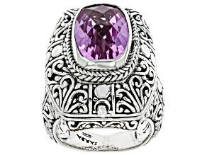Pre-Owned Kunzite Color Quartz Triplet Silver Ring 5.80ct
