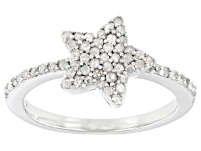 Pre-Owned White Diamond Rhodium Over Sterling Silver Star Cluster Ring 0.40ctw