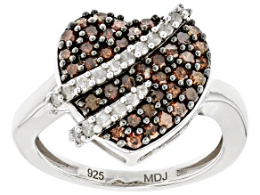 Pre-Owned Red And White Diamond Rhodium Over Sterling Silver Heart Cluster Ring 0.80ctw