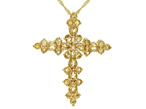 Pre-Owned Yellow Citrine 18K Yellow Gold Over Silver Cross Pendant With Chain 4.49ctw