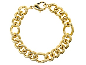 Pre-Owned 18k Yellow Gold Over Bronze Station Curb Bracelet 8.5 Inches