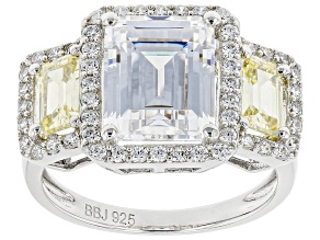 Pre-Owned Yellow And White Cubic Zirconia Rhodium Over Sterling Silver Ring 8.73ctw