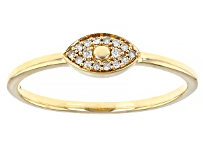 Pre-Owned White Diamond Accent 10K Yellow Gold Eye Ring