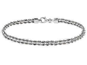 Pre-Owned Rhodium Over 14k Yellow Gold Hollow Rope Bracelet 8 inch