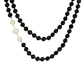 Pre-Owned Cultured Freshwater Pearl And Spinel Rhodium Over Silver Necklace 8.5-10.5