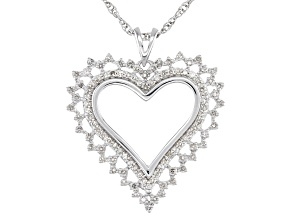 Pre-Owned White Diamond 10K White Gold Heart Pendant With Rope Chain 0.50ctw