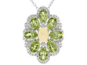 Pre-Owned Ethiopian Opal Sterling Silver Pendant With Chain 3.79ctw