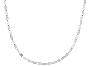 Pre-Owned Rhodium Over 10k White Gold Polished Mirror Link 20 Inch Necklace