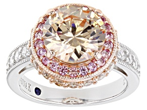 Pre-Owned Champagne And White Cubic Zirconia and Pink Lab Created Sapphire Platineve Ring 7.94ctw