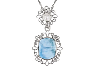 Pre-Owned Blue Larimar Rhodium Over Silver Enhancer With Chain