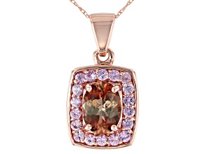 Pre-Owned Green Andalusite 10k Rose Gold Pendant With Chain 1.40ctw