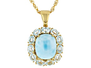 Pre-Owned Blue Larimar 18k Gold Over Silver Pendant With Chain 2.24ctw
