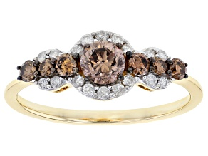 Pre-Owned Champagne And White Diamond 10K Yellow Gold Center Design Ring 0.71ctw