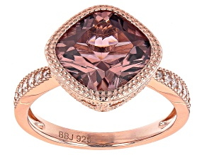 Pre-Owned Blush And White Cubic Zirconia 18k Rose Gold Over Sterling Silver Ring 4.51ctw