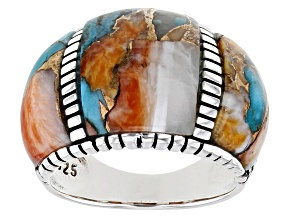 Pre-Owned Blended Turquoise and Spiny Oyster Shell Rhodium Over Silver Inlay Ring