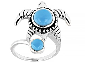 Pre-Owned Sleeping Beauty Turquoise Rhodium Over Sterling Silver Turtle 2-Stone Ring
