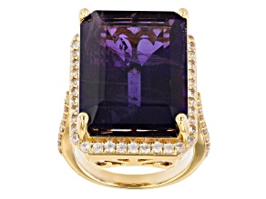 Pre-Owned Purple African Amethyst 18K Yellow Gold Over Sterling Silver Ring. 16.00ctw