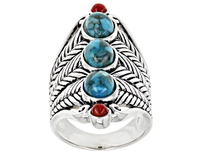 Pre-Owned Blue Turquoise and Red Sponge Coral Rhodium over Sterling Silver Ring