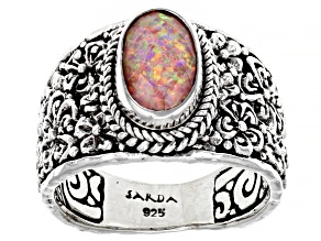 Pre-Owned Salmon Pink Opal Quartz Doublet Silver Ring