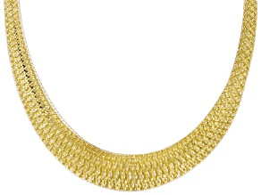 Pre-Owned 10K Yellow Gold Graduated Woven Omega Necklace