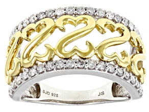 Pre-Owned White Diamond Rhodium And 14k Yellow Gold Over Sterling Silver Ring 0.55ctw