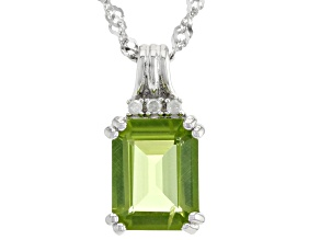 Pre-Owned Green Peridot Rhodium Over Silver Pendant With Chain 2.16ctw