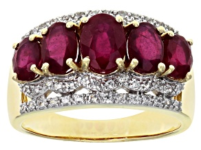 Pre-Owned Red Mahaleo® Ruby 10k Yellow Gold 5-Stone Ring 3.34ctw