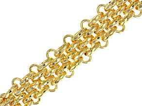 Pre-Owned 18k Yellow Gold Over Bronze Multi Strand Panther Bracelet