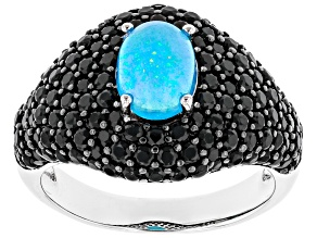 Pre-Owned Paraiba Blue Color Opal Rhodium Over Sterling Silver Ring 2.55ctw