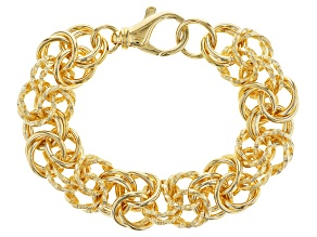 Pre-Owned 18k Yellow Gold Over Bronze Byzantine Bracelet 8.5 inch