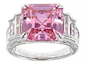 Pre-Owned Pink And White Cubic Zirconia Rhodium Over Sterling Silver Asscher Cut Ring 22.80ctw