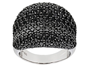 Pre-Owned Black Spinel Rhodium Over Sterling Silver Cluster Band Ring 1.43ctw