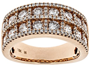 Pre-Owned White Diamond 10K Rose Gold Wide Band Ring 2.30ctw