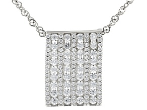 Pre-Owned White Cubic Zirconia Rhodium Over Sterling Silver Pendant With Chain 2.36ctw