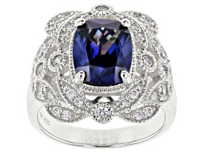 Pre-Owned Blue & White Cubic Zirconia Rhodium Over Sterling Silver Center Design Ring 5.84ctw