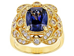 Pre-Owned Blue & White Cubic Zirconia 18K Yellow Gold Over Sterling Silver Center Design Ring 5.85ct