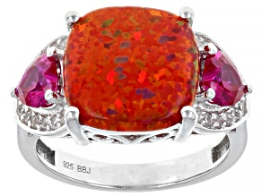 Pre-Owned Red Lab Opal Rhodium Over Silver Ring 1.14ctw