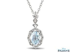 Pre-Owned Enchanted Disney Elsa Halo Pendant Sky Blue Topaz And White Diamond Rhodium Over Silver 1.