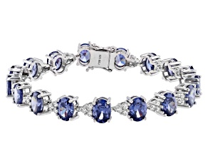 Pre-Owned Blue And White Cubic Zirconia Rhodium Over Sterling Silver Tennis Bracelet 37.04ctw