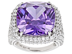 Pre-Owned Purple and White Cubic Zirconia Rhodium Over Silver Ring