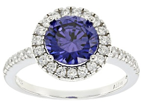 Pre-Owned Blue & White Cubic Zirconia Rhodium Over Silver Ring 3.88ctw