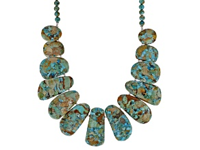 Pre-Owned Multi Color Turquoise With Matrix Rhodium Over Silver Bead Necklace