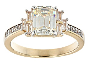Pre-Owned Fabulite strontium titanate and white zircon 18k yellow gold over sterling silver ring 2.1