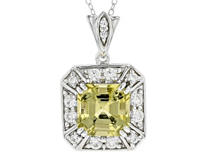 Pre-Owned Yellow apatite sterling silver pendant with chain 5.61ctw